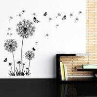 ingrosso decorazioni farfalle marrone-Dente di leone Decalcomanie da muro - Adesivi murali Tarassaco Art Decor- Vinile Grande Peel and Stick Rimovibile Murale di