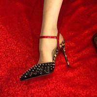 leopar topuklu sandaletler toptan satış-Ücretsiz kargo Moda kadınlar lady peep Pompaları Siyah leopar rugan deri sivri yüksek topuk ayakkabı seksi parti ayakkabı sandalet hakiki deri