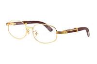 ingrosso bufalo rotondo-occhiali da sole in legno di bambù per uomo 2019 occhiali da sole rotondi di design da uomo senza montatura occhiali da vista in corno di bufalo marrone chiaro lenti da vista