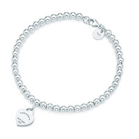 Wholesale 100 Silver pendant tag bracelets T Genuine Charm love Heart Bead Bracelet Original Female men Jewelry Personality Gift
