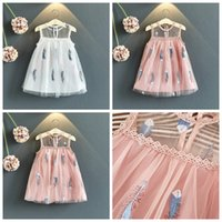 Wholesale line dress veil for sale - Baby girls princess lace tutu skirts white and pink color girl summer boutiques clothing kids veil mesh dresses
