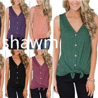 v футболка с высоким воротником оптовых-Футболка без рукавов для женщин V воротник кардиган лето черный зеленый фиолетовый дна рубашки просто высокое качество популярные 17sj D1