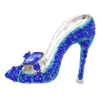 Wholesale ruby brooches for sale - Group buy Multi Colors Crystal Rhinestones High Heel Shoes Brooch Pins for Women