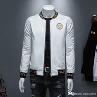 casacos europeus para homens venda por atacado-jaqueta de europeus e americanos designer de moda mens jaqueta casual tecido blusão de designer de gola alta dos homens da moda