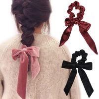 kadife papyon kravat toptan satış-Kadınlar Bow Kravatlar at kuyruğu Tutucu Aksesuarları RRA2787 için Sevimli Kız Saç Halat Kadife Scrunchies ilmek Elastik Saç Bantları