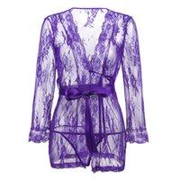 прозрачное фиолетовое платье оптовых-S M L 4XL 5XL 6XL черный красный фиолетовый плюс размер женщины пэчворк эротическое белье горячая сексуальное женское белье сорочки прозрачный платье