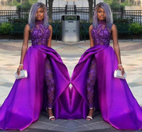 Wholesale sexy classic gown resale online - 2019 Classic Jumpsuits Prom Dresses With Detachable Train High Neck Lace Appliqued Bead Evening Gowns Luxury African Party Women Pant Suits