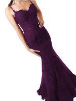 ingrosso perline di potere viola-Viola cinghie Prom Dresses guaina lungo pavimento abito formale abito da sera perline Sash Robe De Soiree