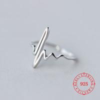 moda takı çin fabrikası toptan satış-Moda Takı Çin Fabrika Fiyat Katı 925 ayar gümüş Kore tarzı kişilik EKG yüzük toptan edebi dalga kalp atışı halkası