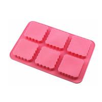 silikon kalıp kekleri toptan satış-Çiçek Altı Izgara Sabun Kalıpları Silicome Saf Renk Dikdörtgen Yırtılma Direnci Isıya Dayanıklı Kullanımlık Pişirme Kek Kalıpları 7 5hyE1