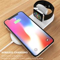iphone watch dock toptan satış-2 in 1 Kablosuz Şarj Qi Hızlı Şarj Apple Ürünü Için 2 3 4 iWatch iPhone Xr Xs Max Samsung S9 Dock Adaptörü