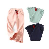 dantel ayağı toptan satış-Çocuklar Kız Pantolon Çocuk Çan dipli Pantolon Karikatür Kiraz Bant Dantel Pantolon Bacaklar Katı Şerit Rahat Pantolon Elastik Bel 6