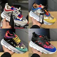 цепи для обуви оптовых-2019 Chain Reaction Роскошные Дизайнерские Туфли Мужчины Женщины Кроссовки Снежный Барс Черный Белый Сетка Резиновая Кожа модная женская повседневная обувь