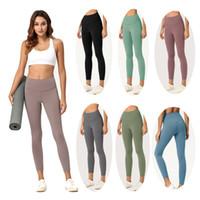calças de yoga apertadas para mulheres venda por atacado-Womens Gym Leggings cor sólida cintura alta Yoga Pants Roupa Desportiva Elastic aptidão Senhora geral completa calças justas Workout