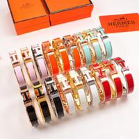 gold bracelets venda venda por atacado-Venda quente 316L titanium aço preto punk bangle com banhado a ouro e H palavras e cores de esmalte para homem e mulheres bangle em tamanho 5.7 * 4.7 cm gol