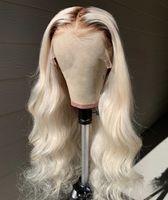 brazilian bakire saç peruk 1b toptan satış-Ombre 1B 613 Gevşek Dalga Tam Dantel Peruk Önceden alınmış Peruk Siyah Kökleri ile 100% Brezilyalı Virgin İnsan Saç Peruk
