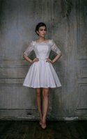 diz boyu elbiseler artı boyut tafta toptan satış-Mini Diz Boyu Weddig Elbise Dantel Üst Tafta Etek artı boyutu gelinlik gelinlikler Diz Boyu Gelinlik SW0092