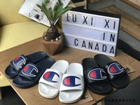 Wholesale champion slippers for sale - Group buy Womens Champions Letter Sandal Men Summer Slipper Slip on Flip Flops Wedge Platform Sandals Beach Water Rain Mules Shoes Sizes A42508