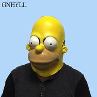 yetişkinler için komik maskeler toptan satış-Homer Simpsons Lateks Simpsons Cosplay Maske Cadılar Bayramı Cosplay Erkekler için Fantezi Parti Tam Yüz Komik Maske Yetişkin Karnaval Prop