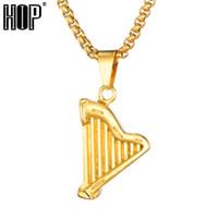 harfenanhänger großhandel-HIP Hop Rock Harp Anhänger Halsketten Anhänger Perle Kette 316 Edelstahl Titan Halskette für Männer Schmuck Dropshipping