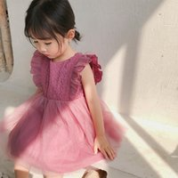 Wholesale baby girl korean dress cute for sale - Group buy 2019 Summer New Arrival Korean Version cotton pure color all match princess lace vest bubble dress for cute sweet baby girls T191007