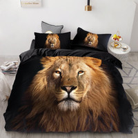 hayvan yorgan takımları toptan satış-3D Uyku Seti Custom, Nevresim Seti Kral / Avrupa / ABD, Yorgan / Yorgan / Battaniye Kapak Set, Hayvan Kara Aslan yatak örtüsü yazdır