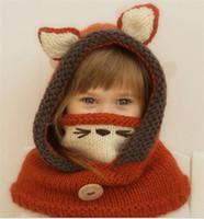 niños fedora negro al por mayor-2019 Sombreros de niños manto máscaras zorros sombreros de lana chales orejeras animales D56