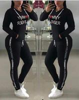 outdoor clothing achat en gros de-Lettre imprimé Survêtement Femmes Pantalon À Capuche 2pcs / set Casual Sports En Plein Air À Manches Longues Tops Jogger Clothing Set OOA6586