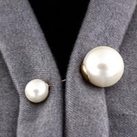 ingrosso grande spilla per gioielli-Spilla Pins Vintage doppia testa d'imitazione della perla di grande grande maglione Spille signora Women per i gioielli da sposa accessori