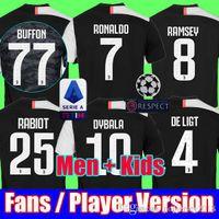 camisetas de uniforme al por mayor-Fans Jugador Versión 19 20 Juventus 2019 2020 RONALDO Camisetas de fútbol de la Liga de Campeones Camiseta de equipo de fútbol deportivo MEN KIDS establece el uniform