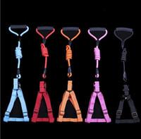 Wholesale big nylon dog collar resale online - Soft Adjustable Dog Harness Vest Pet Collar Big Dog Rope Collar Hand Strap Pet Leaches Traction Rope Dog Leashes supplie
