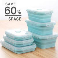 frischhaltedosen mikrowellenfest großhandel-Faltbare Aufbewahrungsbehälter für Lebensmittel 3-Pack-Silikon-Bento-Brotdosen, wiederverwendbare BPA-freie und mikrowellengeeignete Mittagessenbehälter 077
