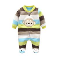 bebek oğlan maymun setleri toptan satış-3 m-12 m Bebek Tulum Kış Sıcak Polar Giyim Seti Boys Karikatür Maymun Bebek Kız Giysileri Için Yenidoğan Tulumları Bebek Tulum MX190801