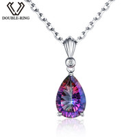 Wholesale double locket necklace resale online - DOUBLE R sterling silver Water Drop Necklaces Pendants for women Rainbow Fire Created Mystic Topaz Fine Jewelry