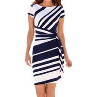 ofis rahat elbise çizgili toptan satış-Ofis Vestidos Lady Çizgili Kalem Elbise Kadın Kısa Kollu Bodycon Örgün Parti Elbise Kemer Rahat Mini Elbise # yl5 giysi tasarımcısı