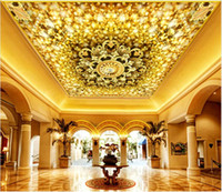 Wholesale gold wallpapers bedroom for sale - Group buy Custom D Photo Wallpaper Gypsophila gold transfer tray luxury zenith mural Ceiling Wall Painting Living Room Bedroom Wallpaper Home Decor