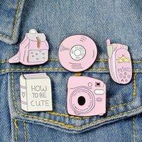 camisa rosa de mezclilla al por mayor-Moda Cómo ser Vintage rosado lindo de Kawaii metal Broche de la insignia botones broche camisa vaquera chaqueta Bolsa broches decorativos para las muchachas de las mujeres