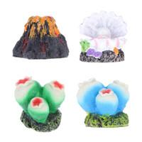 ingrosso pesca d'aria-New Air Stone Bubble Diffusore Aquarium Decoration Sea Pearl Shell / Volcano / Coral flower Ornament Land Waterscape per acquario