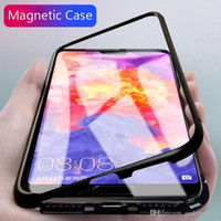 Wholesale For iPhone XS Max XR Magnetic Adsorption Metal Bumper Tempered Glass Back Cover Case up