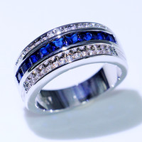 Choucong New Arrival Hot Sale Fashion Jewelry 10KT White Gold Fill Princess Cut Blue Sapphire CZ Diamond Men Wedding Band Ring For Lover