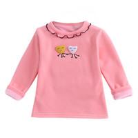 blusa amarilla bebé al por mayor-1T-5T Niños Bebés Sólidos Sólidos de dibujos animados Base Camisa de manga Loog O-cuello Blusa Ropa Sólido Blanco Rosa Amarillo Gris Tops