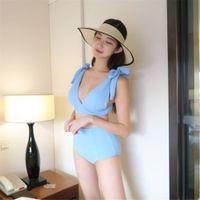 blauer lycra-anzug großhandel-Hohe Taille Bikini Frauen Feste Badebekleidung Push Up Badeanzug Korea Stil Biquini Pad Bikinis Blau Badeanzug Bogen Maillot De Bain