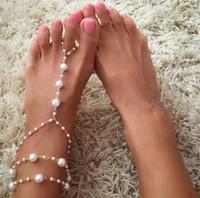 ingrosso i migliori gioielli del piede-Gioielli catena Best signora Footless nuziale Foot Beach Wedding perla simulata a piedi nudi Sandalo cavigliera Donne Femmina cavigliere all-ingrosso