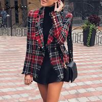 ofis katları toptan satış-Simplee Rahat tüvit ekose blazer kadınlar 2018 Noel karışımı kış ceket ceket mujer Moda ofis bayanlar kadın blazer sonbahar