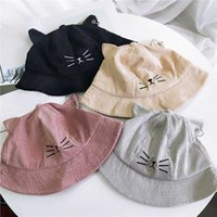Wholesale kitty cat hats resale online - Autumn Spring New Corduroy Girls Caps Multicolor Kitty Bucket Hat Cute Cartoon Cat Ears Hats Apparel Accessories