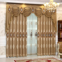 Wholesale 90 inch curtains resale online - European style Embroidery Curtains for Living Room Yarn Modern Bedroom Floor Window Shade Curtain Glory Yellow Sheer Curtain