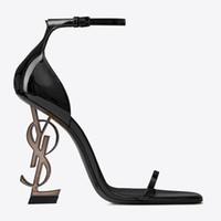 ingrosso scarpe da sera in pelle-Pelle verniciata nera Tacco grigio Moda Scarpe da sposa Moda Modest Eden Tacco alto Donne Scarpe da sera per feste Scarpe da sera Tacco 10cm