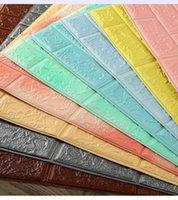 tuğla duvar kağıtları toptan satış-70x77 cm DIY 3D Duvar Çıkartmaları Kendinden Yapışkanlı Köpük Tuğla odası Dekor Duvar Kağıdı Duvar Dekor Oturma Duvar Sticker Ço ...