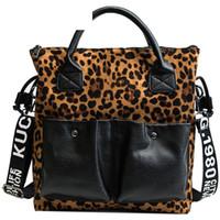 projeto do leopardo malas venda por atacado-Boa qualidade Moda Marca Leopardo Design Mulheres Bolsa de Ombro Leopardo Impresso Bolsa Para Feminino Grande Capacidade Bolsa De Couro Senhora