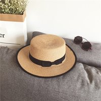 Wholesale womens elegant hats resale online - 20ss Elegant Flat Holiday Beach Hats Womens Wide Brim Hats High Quality Sun Hat Tide Colors Fisherman Hats